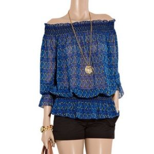 Tory Burch Blouse Laricia peasant peplum Ruched